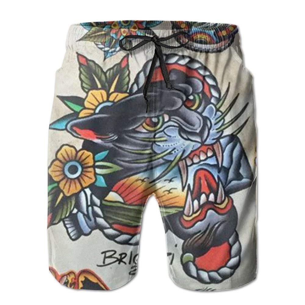 artyly Playa Tatuaje Estampado de Tigre Personalidad Pantalones ...