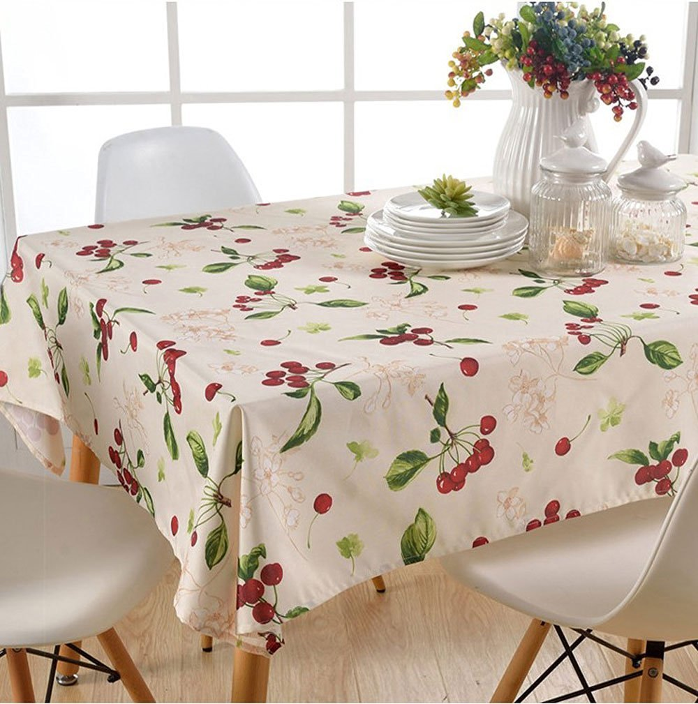 Lovely Cherry Pattern Tablecloth, Indoor&Outdoor Water and Oil Resistant