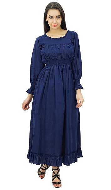 Bimba algodón batas vestido maxi largo ocasional de la cintura de las mujeres: Amazon.es: Ropa y accesorios