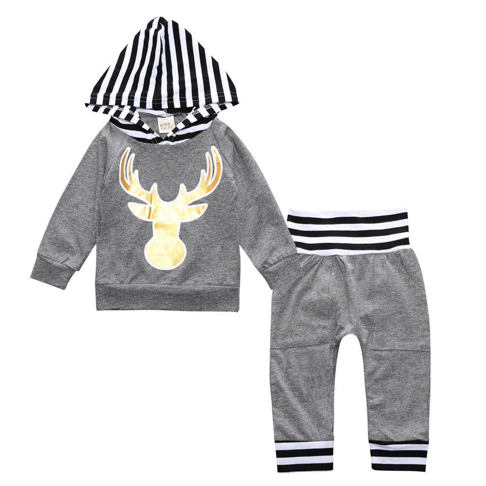a37f93b38 Amazon.com: Toddler Infant Baby Boys Outfit Set Deer Dinosaur Sweatsuit  Long Sleeve Hoodie Tops Pants 2 Piece Clothes Set: Clothing