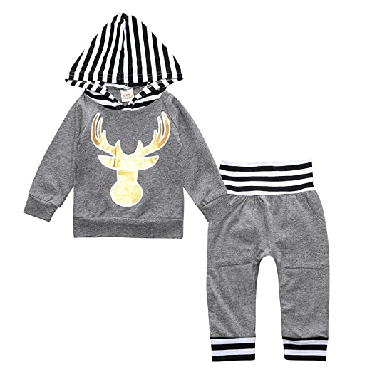 85a4e72766db Amazon.com  Toddler Infant Baby Boys Outfit Set Deer Dinosaur ...