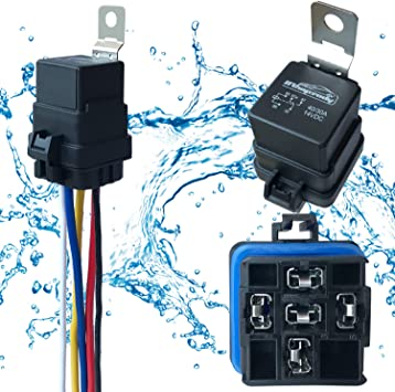 5 PACK 40//30 AMP 12 V DC Waterproof Relay and Harness 5-PIN SPDT Bosch Style Automotive Relay Heavy Duty 12 AWG Wiring Harness