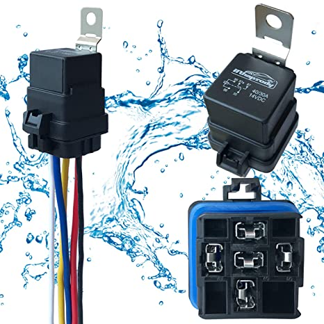 1 pack 40 30 amp 12 v dc waterproof relay and harness heavy duty 12 awg tinned copper wires, 5 pin spdt bosch style automotive relay Black Wire Harness
