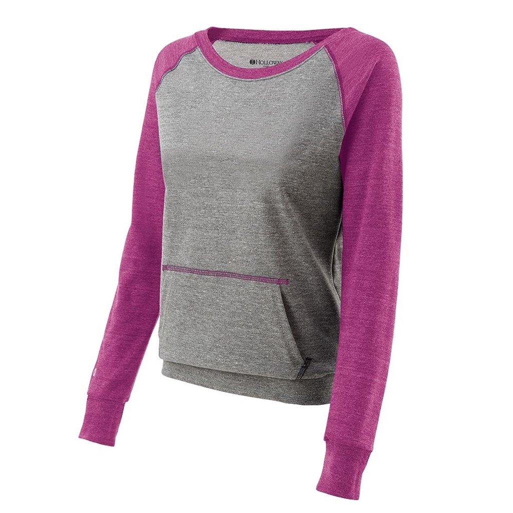 Holloway Juniors Candid Vintage Crew Shirt (Large, Vintage Grey/Vintage Pink) by Holloway