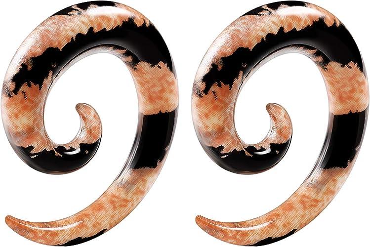 Pair Handmade Black Double Spiral Horn Tribal Hanger Ear Plugs Expander 8G-00G
