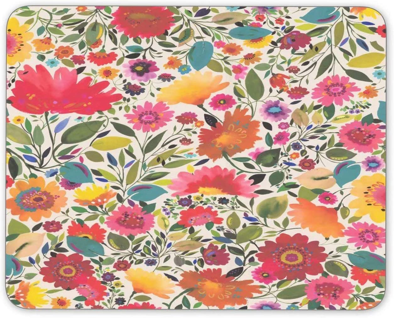 Mouse Pad Flower Bush Rectangle Non-Slip Rubber Mouse Mat for Computer Desk Laptop Office