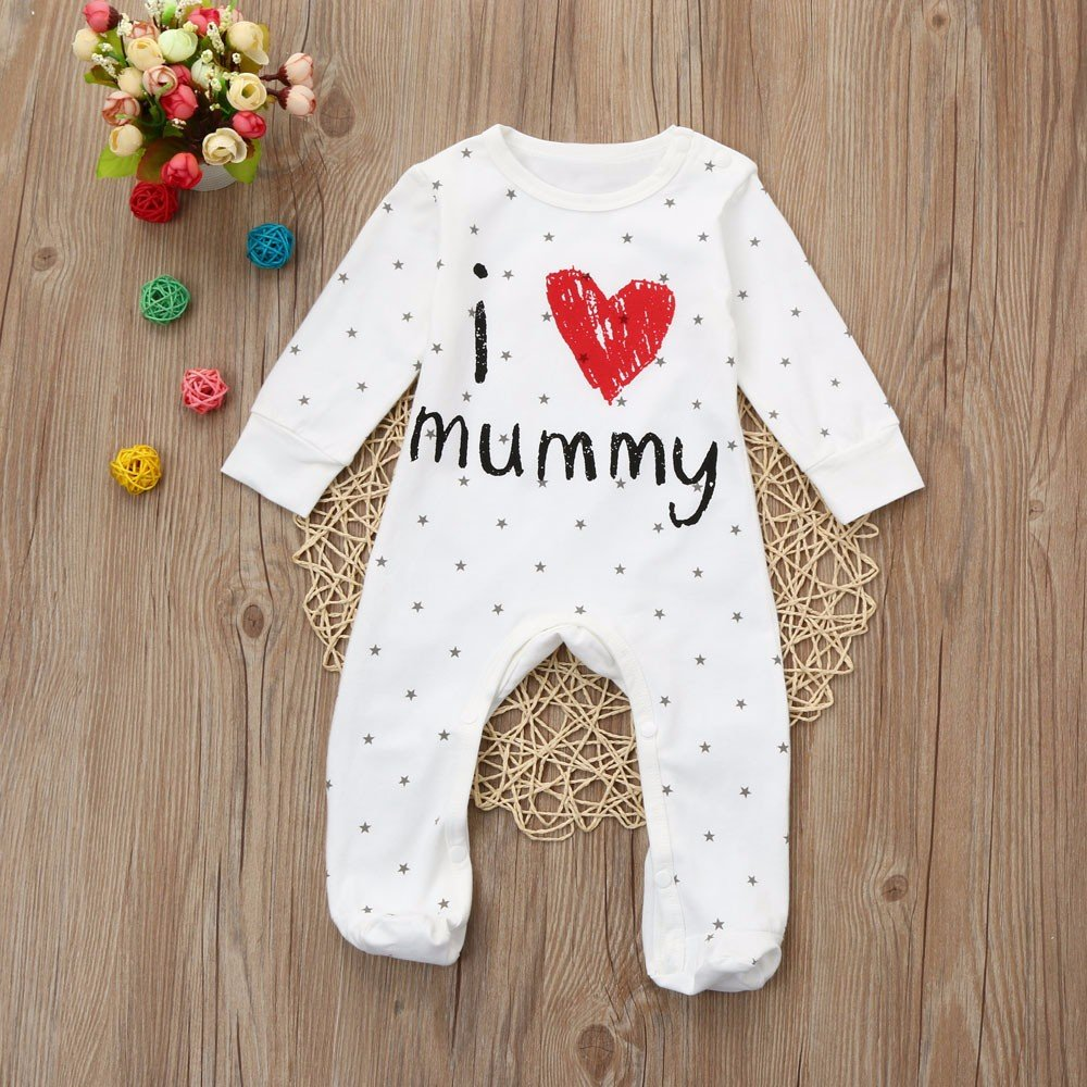 Janly Baby Clothes Set Girls Boys I Love Mummy Jumpsuits Toddler Long Sleeve Romper Pajamas for 0-2 Years Old Kids Outfits