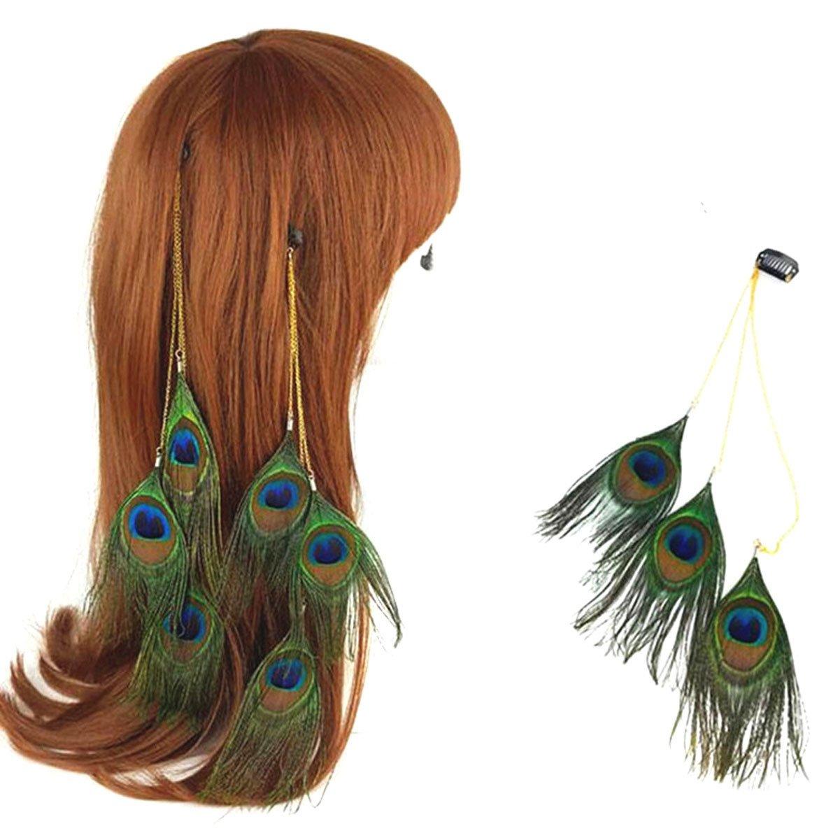 3 Pcs Women Lady Girls Handmade Bohemian Style Folk-custom Peacock Feather Hair Extensions Clip Comb Ornaments Tassel - Fashion BOHO Hairband Hippie Headdress Headband for DIY Accessories Hairpin Numblartd