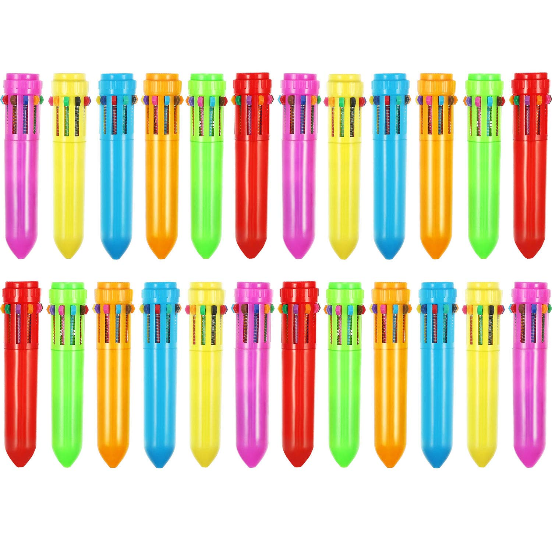 24 Pezzi 10-in-1 Retrattile Penne a Sfera Multicolore Penne Colorate Retrattile Mini Shuttle Penne per Ufficio Scuola Forniture Studenti Bambini Regalo Frienda