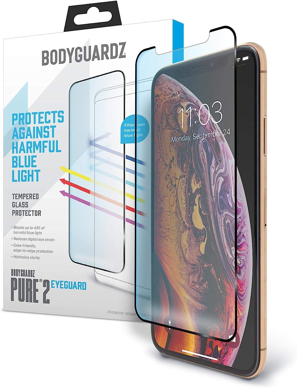 BodyGuardz Pure 2 EyeGuard - Protector de pantalla de cristal para iPhone X/iPhone Xs, color azul: Amazon.es: Electrónica
