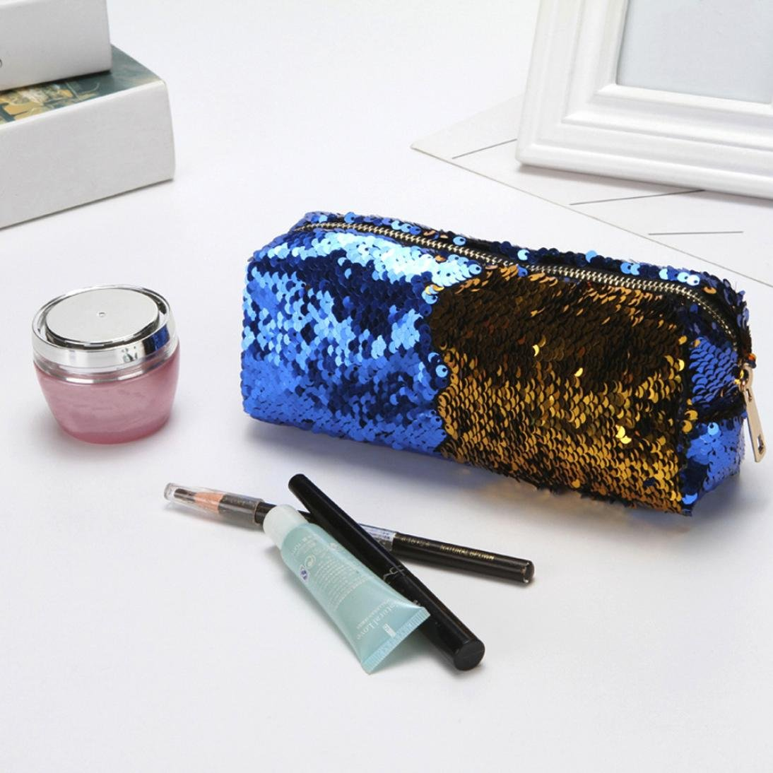 Toamen Bolso De Lentejuelas De Color Doble Moda Unisex Bolso De CosméTicos Estuche De Maquillaje Monedero De Almacenamiento