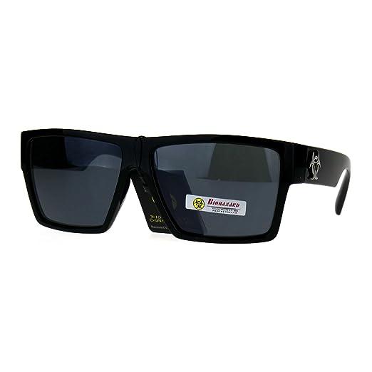 b633cb1fa21 Biohazard Skater Mens Flat Top Squared Rectangular Gangster Sunglasses All  Black