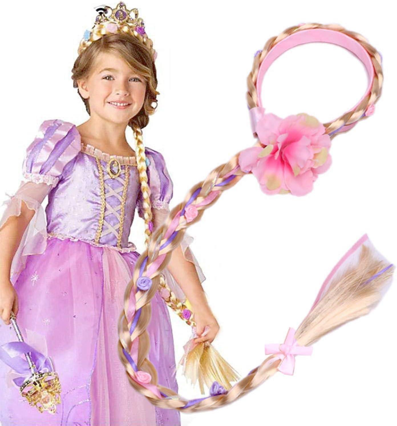 Comius Sharp 2 Piezas Rapunzel Princesa Diadema Peluca Accesorios de Vestir ni/ñas Peluca Trenzas Regalo de los ni/ños para la Fiesta de cumplea/ños Cosplay con Flores Artificiales