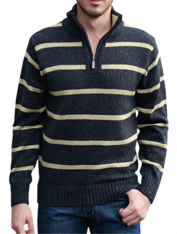 Mioubeila Men's 1/4 Zip Sweater Knitwear Long Sleeve Pullover Knitted Tops