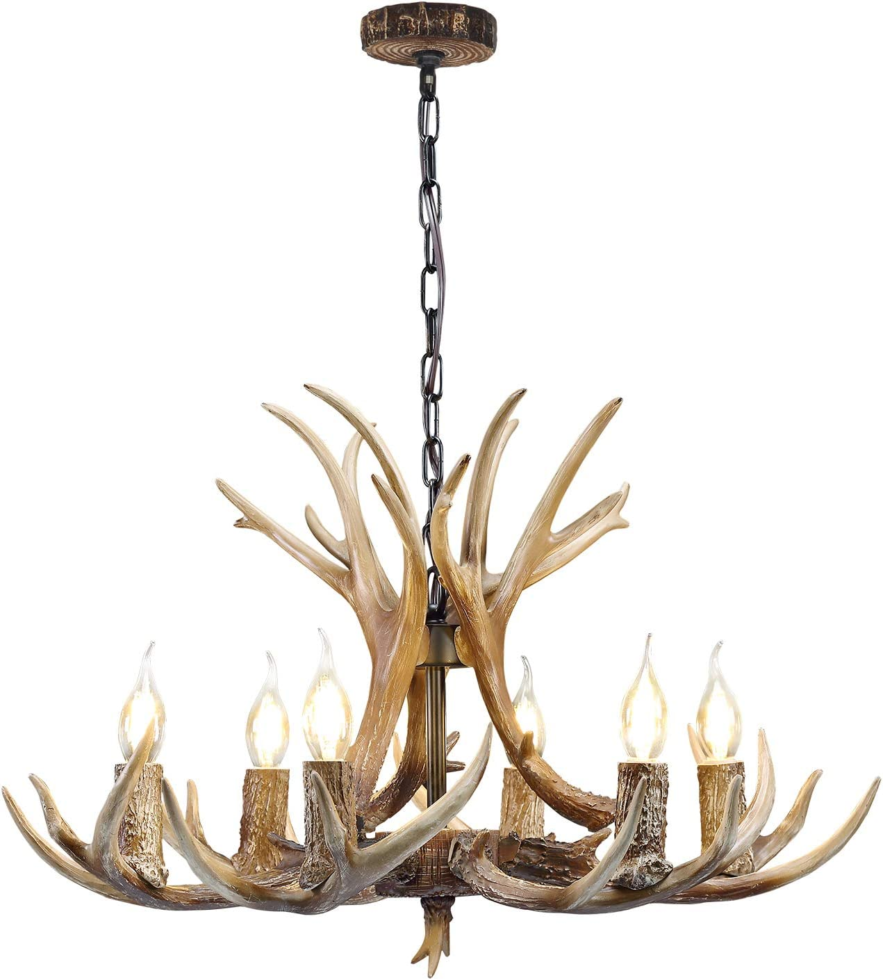 Rustic Antler Chandelier Lighting, 6 Light Resin Deer Antler Chandelier Vintage Style for Living Room Dining Room Bedroom Bar Cafe American Retro Deer Horn Ceiling Light