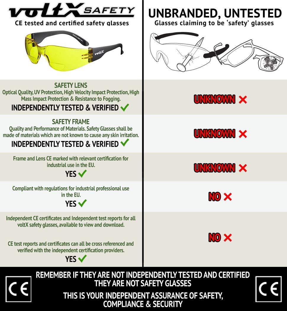 1x Trasparenti 1x Giallo 1x Grigio Fumo +1.0 diopttrie Certificati CE EN166f // Occhiali per ciclisti 3 x voltX /'GRAFTER/' Bifocale Leggero Industriale Occhiali di sicurezza Safety Reading Glasses