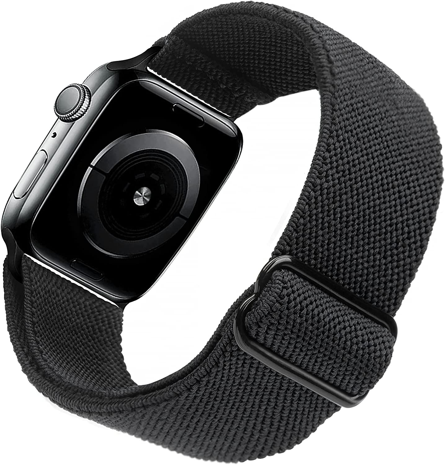 Arae Stretchy Nylon Watch Band Compatible with Apple Watch Band 44mm 42mm Adjustable Elastic Sport Band for iWatch Series 6 5 4 SE 3 2 1 Women Men - Black, 42/44mm