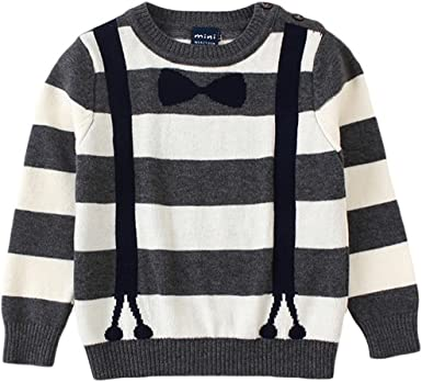 GEMVIE Jersey Niño Suéter Camisa con Rayas Cuello Redondo ...