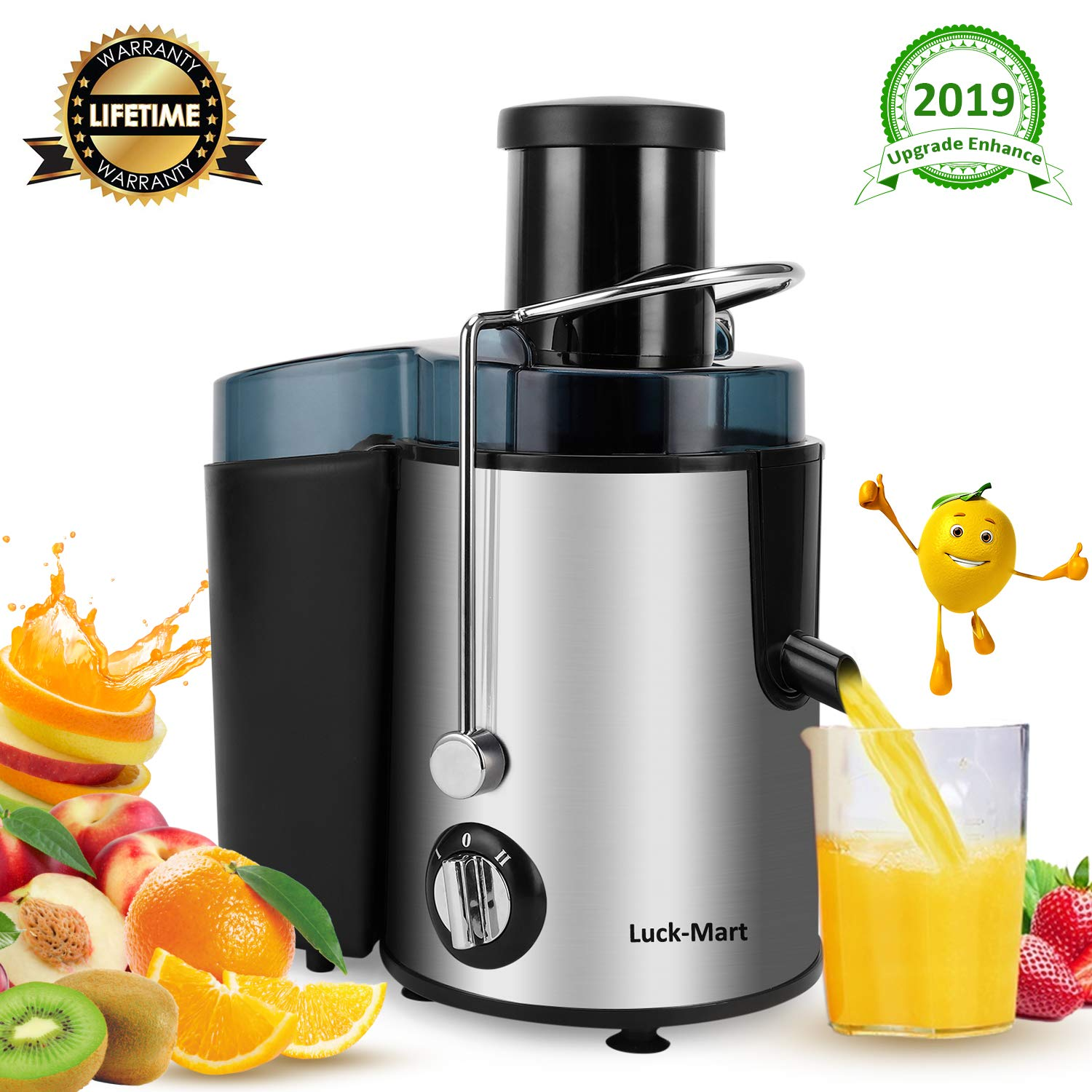Juicer, Juicer Machine Real 3'' Whole Fruit and Vegetable Feeder Chute Juice Extractor, Dual Speeds Centrifugal Juicer, Anti-drip, Stainless Steel and BPA-Free