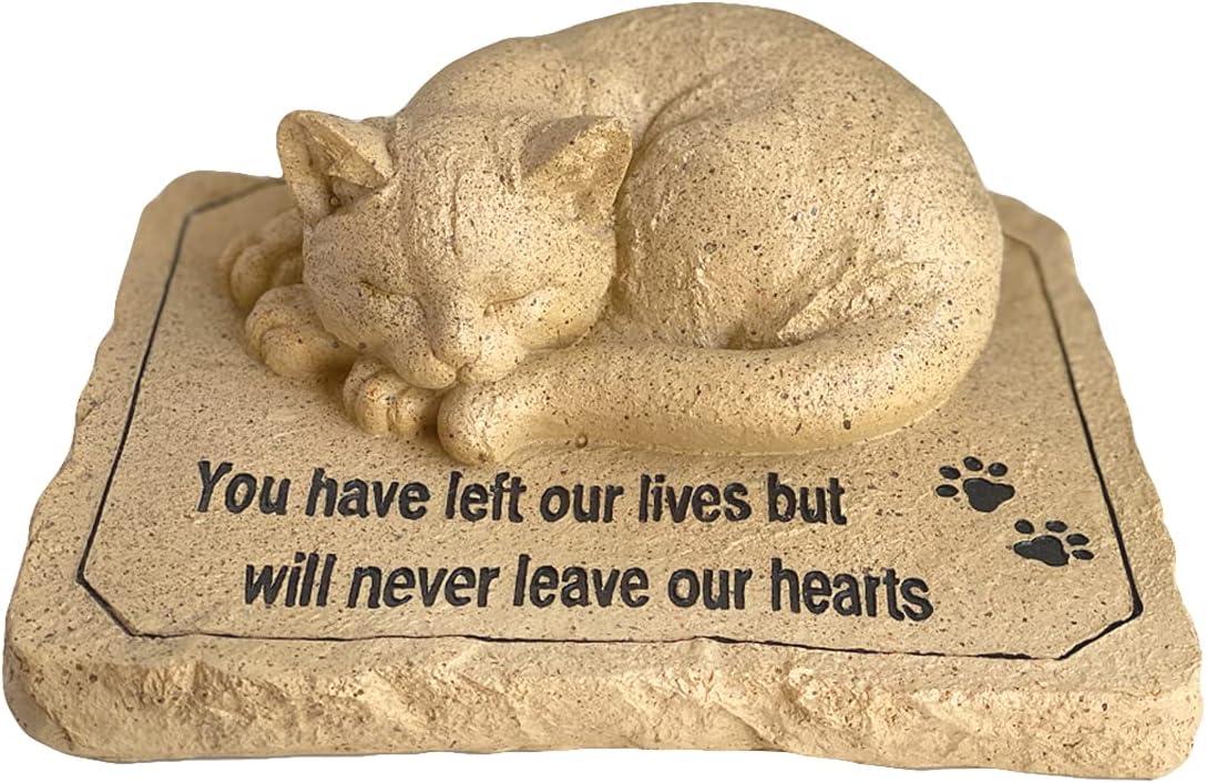 Lily's Home Weather Resistant Outdoor Memorial Garden Headstone with Cat Figurine