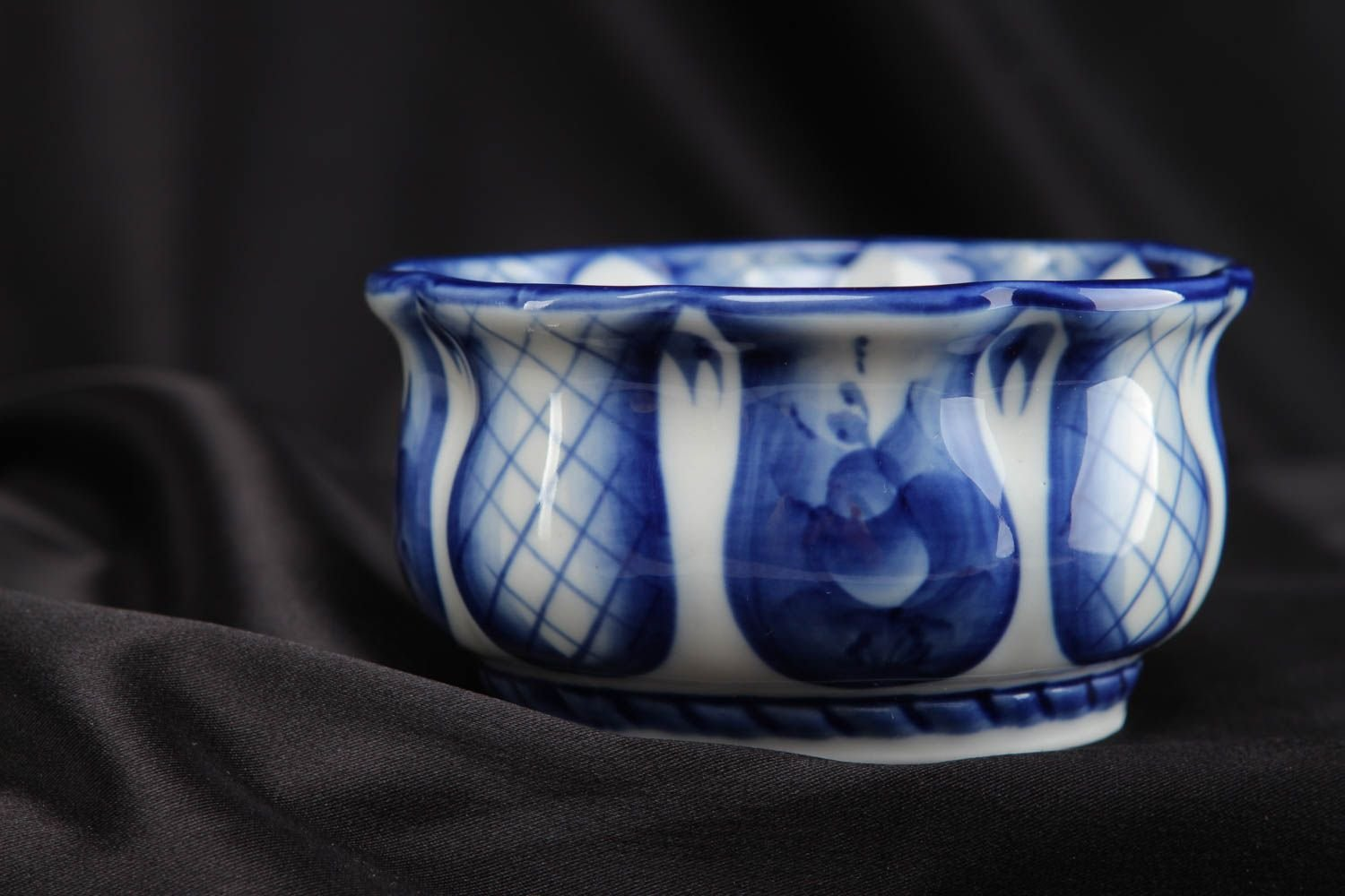 Porcelain Dish With White And Blue Gzhel Painting