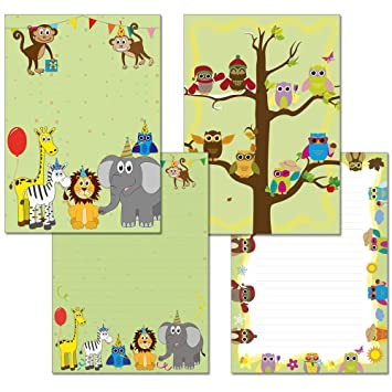 2 pieces notepads 1x colourful animals 1x owls four seasons 25
