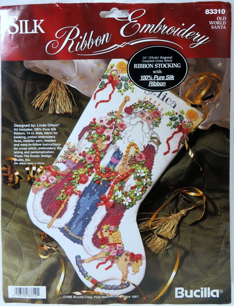 Old World Santa Diagonal Counted Cross Stitch Ribbon Stocking with 100/% Pure Silk Ribbon