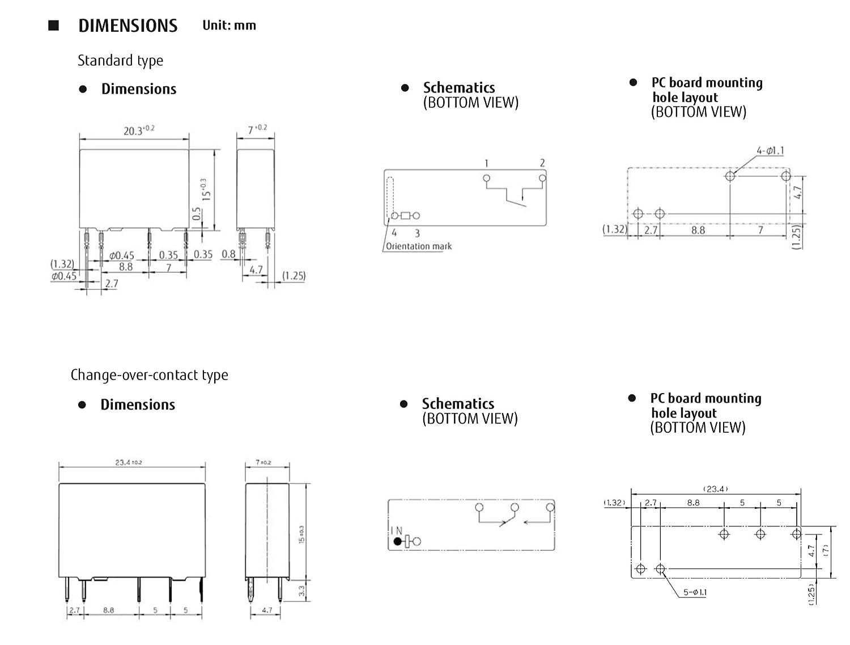 Fujitsu 12VDC 4 Pin General Purpose Relays SPST-NO 12 VDC 5A