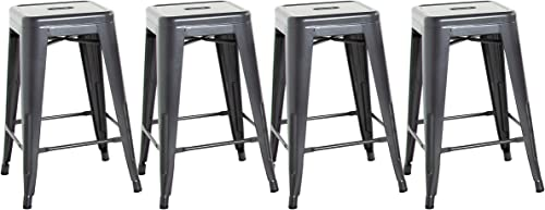CAP Living Set of 4, Stackable 24 inches Sturdy Square Seat Metal Bar Stools, Colors Available in Glossy Black, Silver or Dark Gunmetal Dark Gunmetal