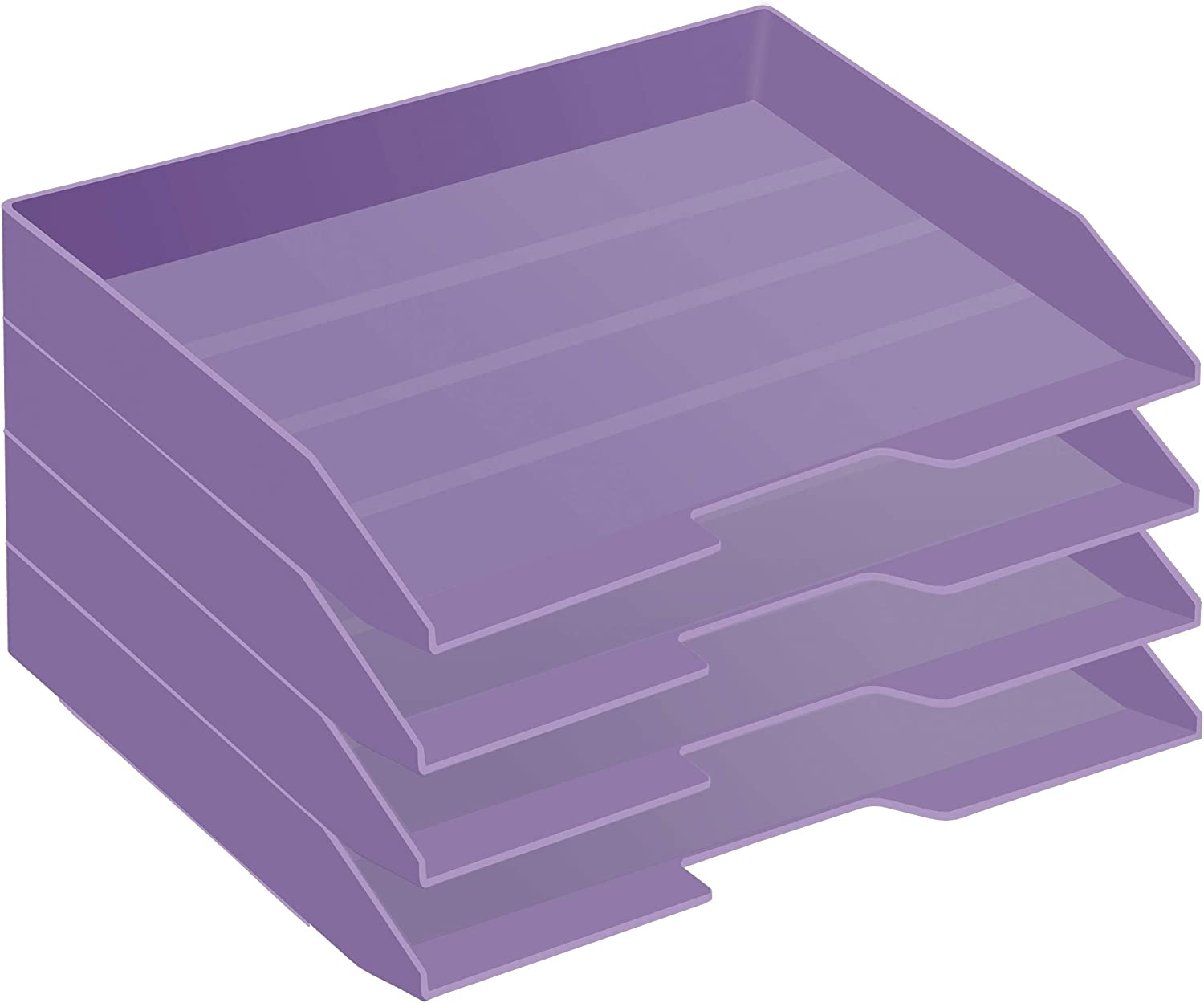 Acrimet Stackable Letter Tray 4 Tier Side Load Plastic Desktop File Organizer (Solid Purple Color)