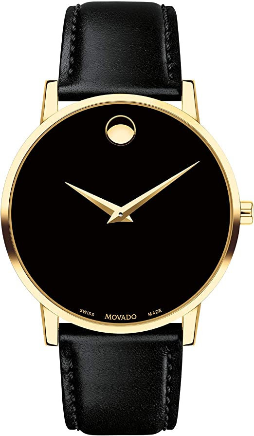 Amazon.com: MOVADO Swiss Museum Classic Black Dial Men's Gold Slim Leather  Watch: Movado: Watches