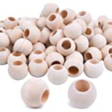 """Jdesun 100 Pieces Wooden Beads, Natural Round Wood Loose Beads Wood Spacer 20mm x Diameter 3/8"""" Hole"""