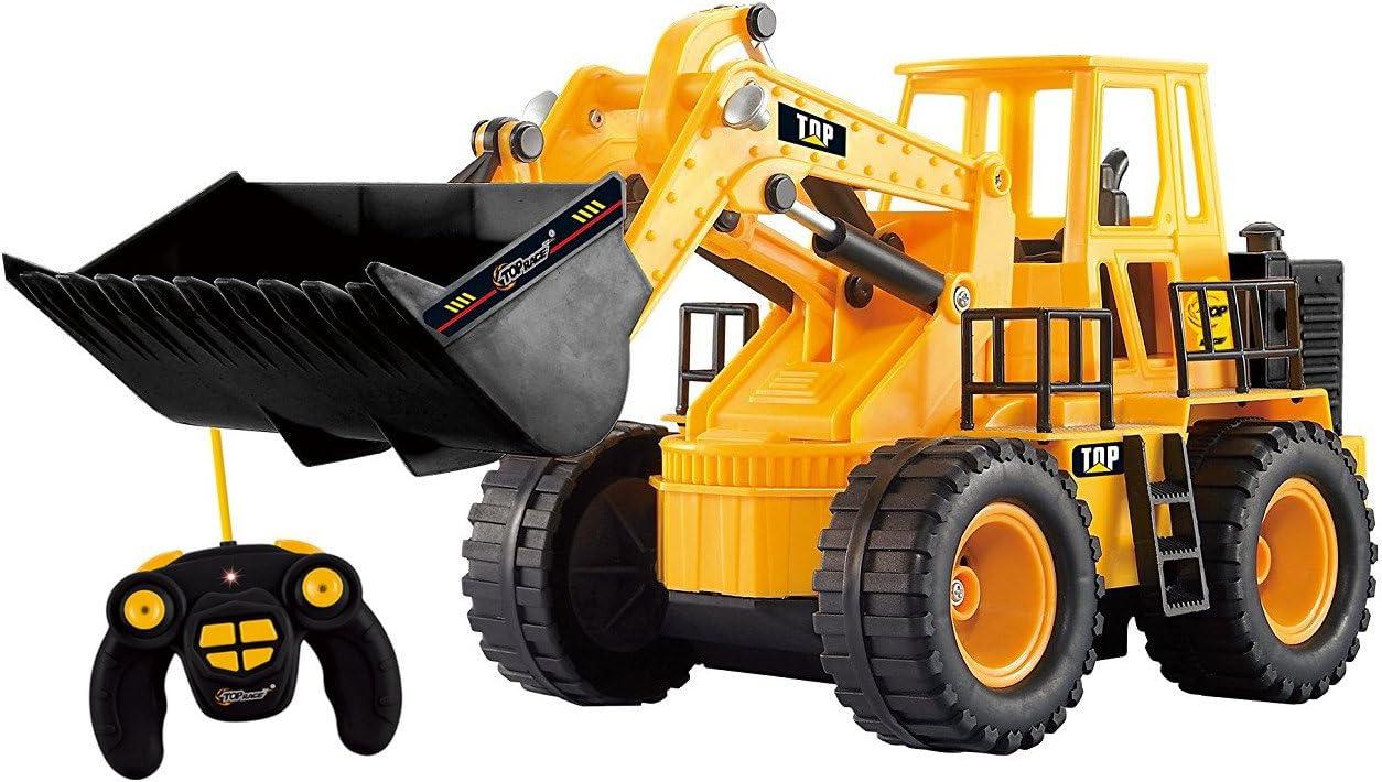 Top Race TR-113-Excavadora de Juguete Control Remoto para construcción, Tractor camión, Excavadora, vehículo de 5 Canales, Funciones Completas y controladas por Radio, Color Naranja-Amarillo (TR-113)