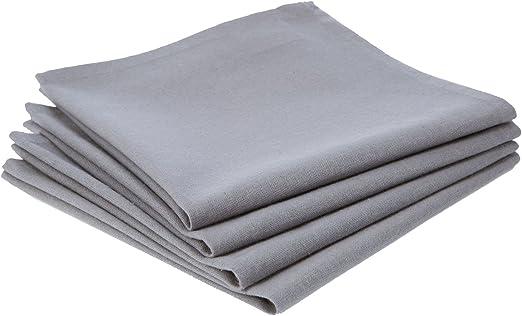 4 servilletas de tela algodón, color Gris claro: Amazon.es: Hogar