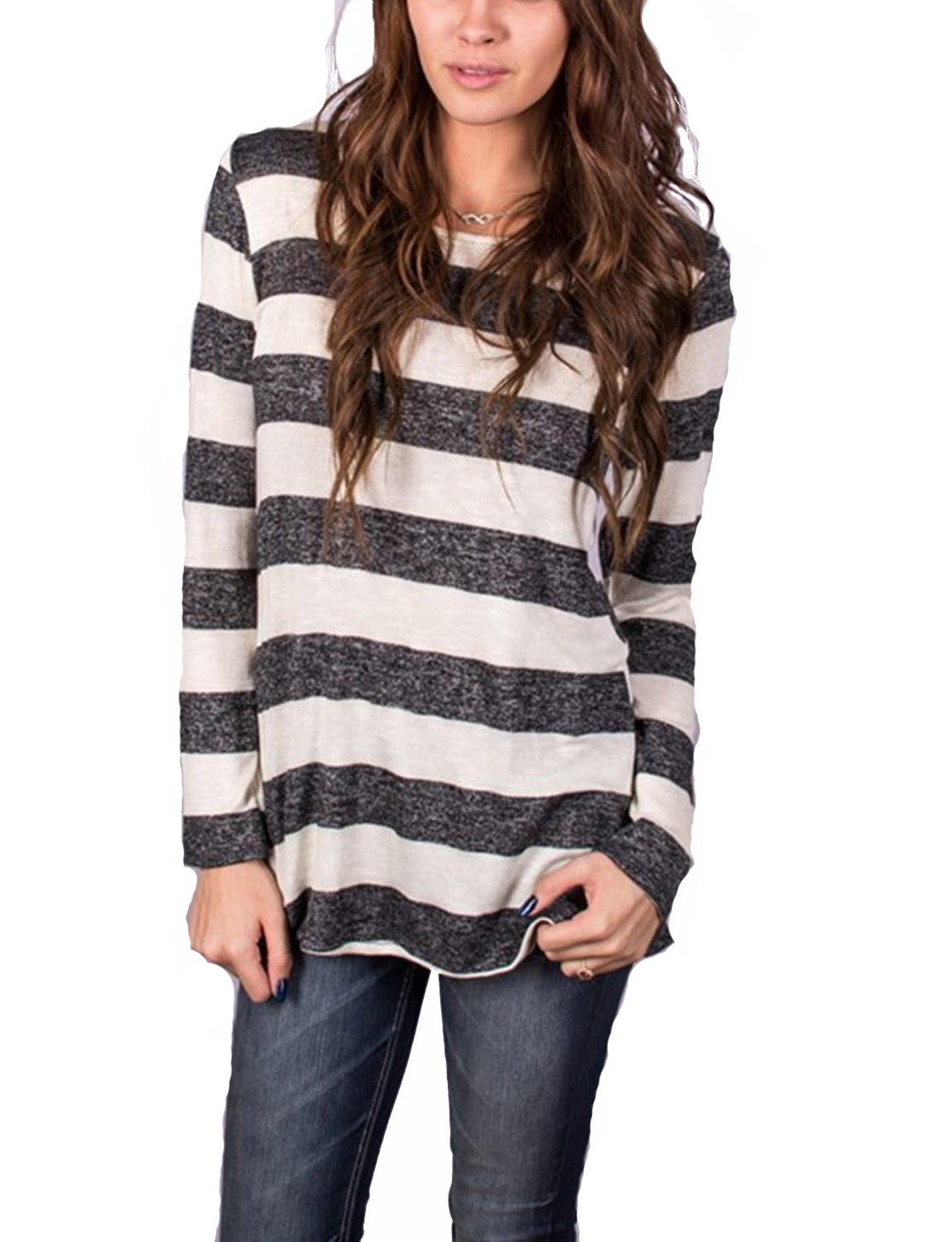 Hount Women's Casual Round Neck Loose Fit Long Sleeve Stripe T-Shirt Blouse Tops with Button (Charcoal Grey, XL)