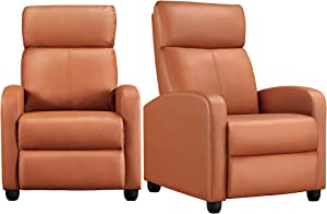 YAHEETECH Padded Seat Recliner Chair Set of 2 Single Sofa Recliner for Living Room PU Leather Upholstered Reclining Chair Home Theater Seating Tan