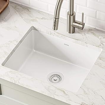 Kraus Ke1us21gwh Pintura 21 Inch Undermount Porcelain Enameled Steel Single Bowl Kitchen Sink White Square Amazon Com