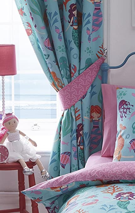 Kidz Club Mermaid Curtains Fully Lined Pencil Pleat Headed