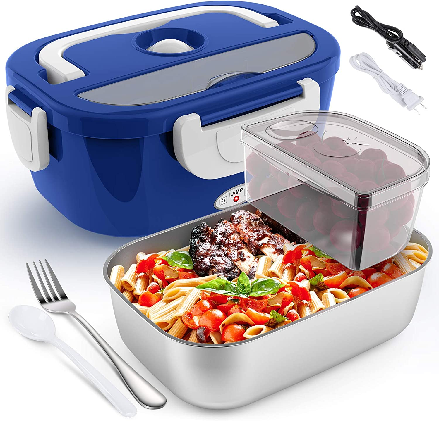 Electric Lunch Box for Car and Home COCOBELA Portable Food Warmer, 55W Faster Food Heater for Adults, 2 Compartments Removable Stainless Steel Container Fork & Spoon