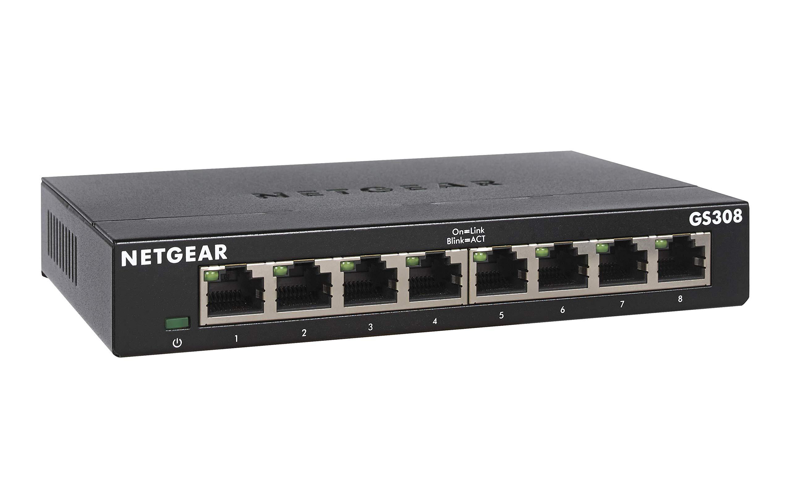 NETGEAR 8-Port Gigabit Ethernet Unmanaged Switch (GS308) - Desktop, Sturdy Metal Fanless Housing by NETGEAR