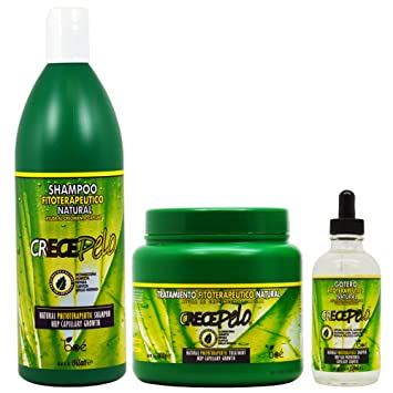 BOE Crece Pelo Fitoterapeutico Natural Shampoo 32.63oz & Treatment 36oz + Hair Growth Gotero Dropper