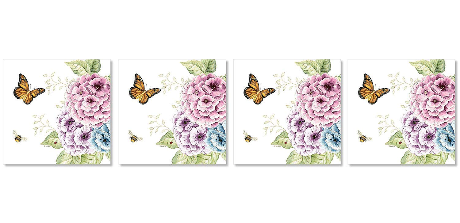 C.R. Gibson Butterfly Blossoms Dessert and Luncheon Napkins, 20pc, 6.5'' W x 6.5'' H (Fоur Paсk)