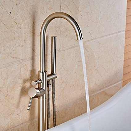 Votamuta Modern Nickel Brushed Free Standing Bathtub Shower Mixer ...