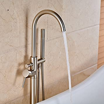 votamuta modern nickel brushed free standing bathtub shower mixer taps floor mounted tub shower faucets with