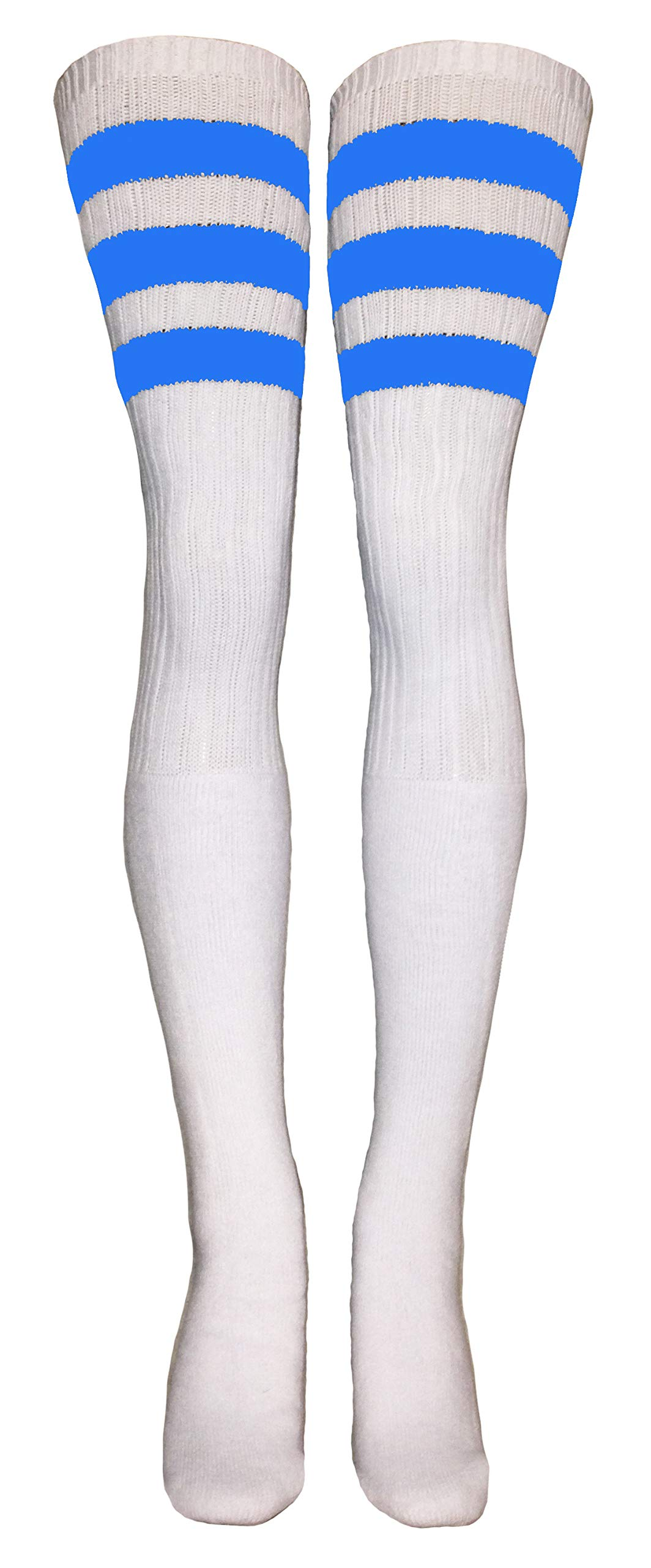 SKATERSOCKS 45'' Thigh High White Tube Socks with Baby Blue stripes style 1 by skatersocks