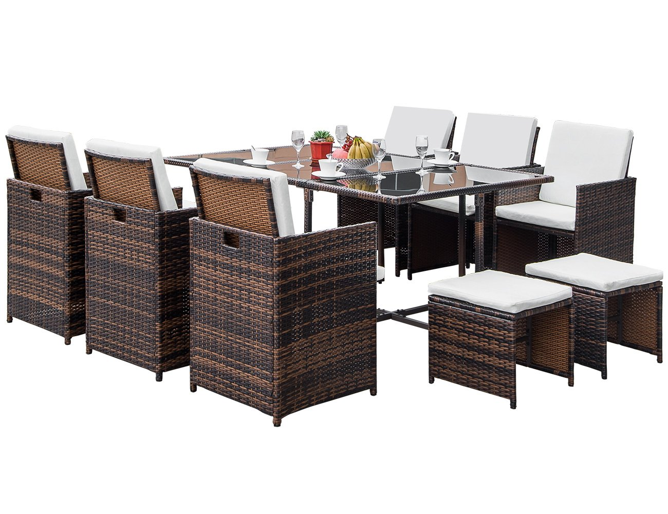 Stupendous Lz Leisure Zone Flieks 11 Piece Patio Furniture Dining Set Outdoor Garden Wicker Rattan Dining Table Chairs Conversation Set With Cushions Brown Home Interior And Landscaping Fragforummapetitesourisinfo