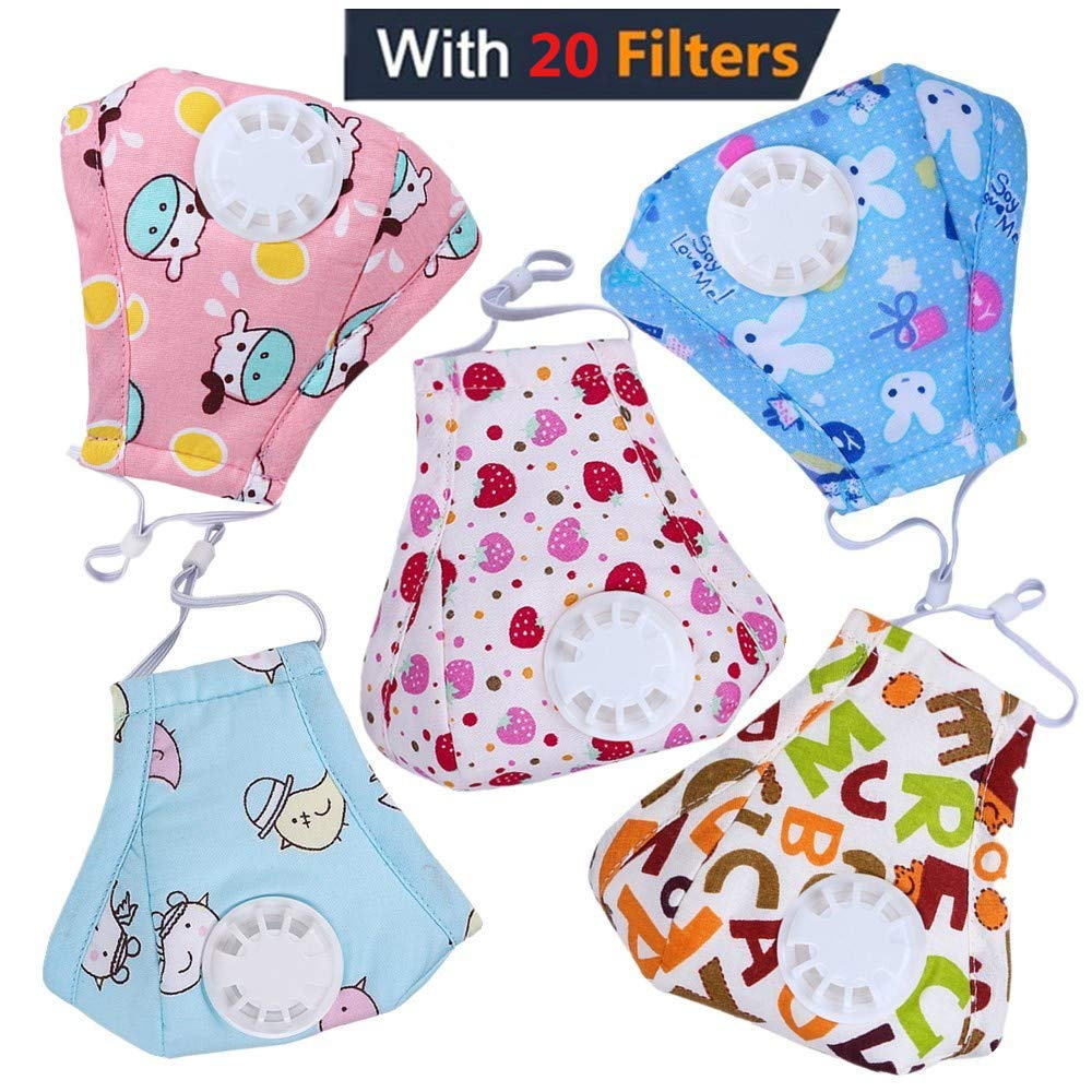 HOLIIBN Kids Anti Pollution Respirator Dust Mask with Exhaust Valve + 20 N95, Air, Dust, Smoke Filters - Cotton Washable PM2.5 Half Face Mask with Adjustable Straps & Nose Bridge.