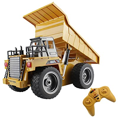 fisca RC Truck 6 Ch 2.4G Alloy Remote Control Dump Truck 4 Wheel Driver Mine Construction Vehicle Toy Machine Model with LED Light: Toys & Games