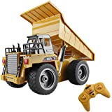 fisca RC Truck 6 Ch 2.4G Alloy Remote Control Dump Truck 4 Wheel Driver Mine Construction Vehicle Toy Machine Model with LED