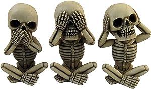"DWK Morbid Morals See Hear Speak No Evil Mini Skeleton Figurines | Macabre for Halloween Gothic Home Decor | Office Desk Decorations | Halloween Decorations - 4"" (Set of 3)"